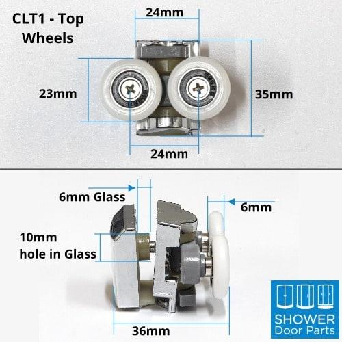 CLT1 - Shower Door Roller 2 Wheeled dimensions Shower Door Parts