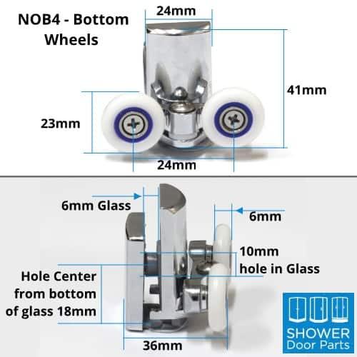 NOB4 - shower door rollers dimensions Shower Door Parts