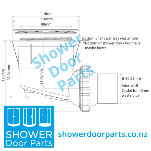 dimensions of Easy Clean shower waste ShowerDoorParts